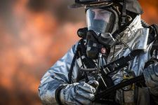Fire image of a first responder in safety gear