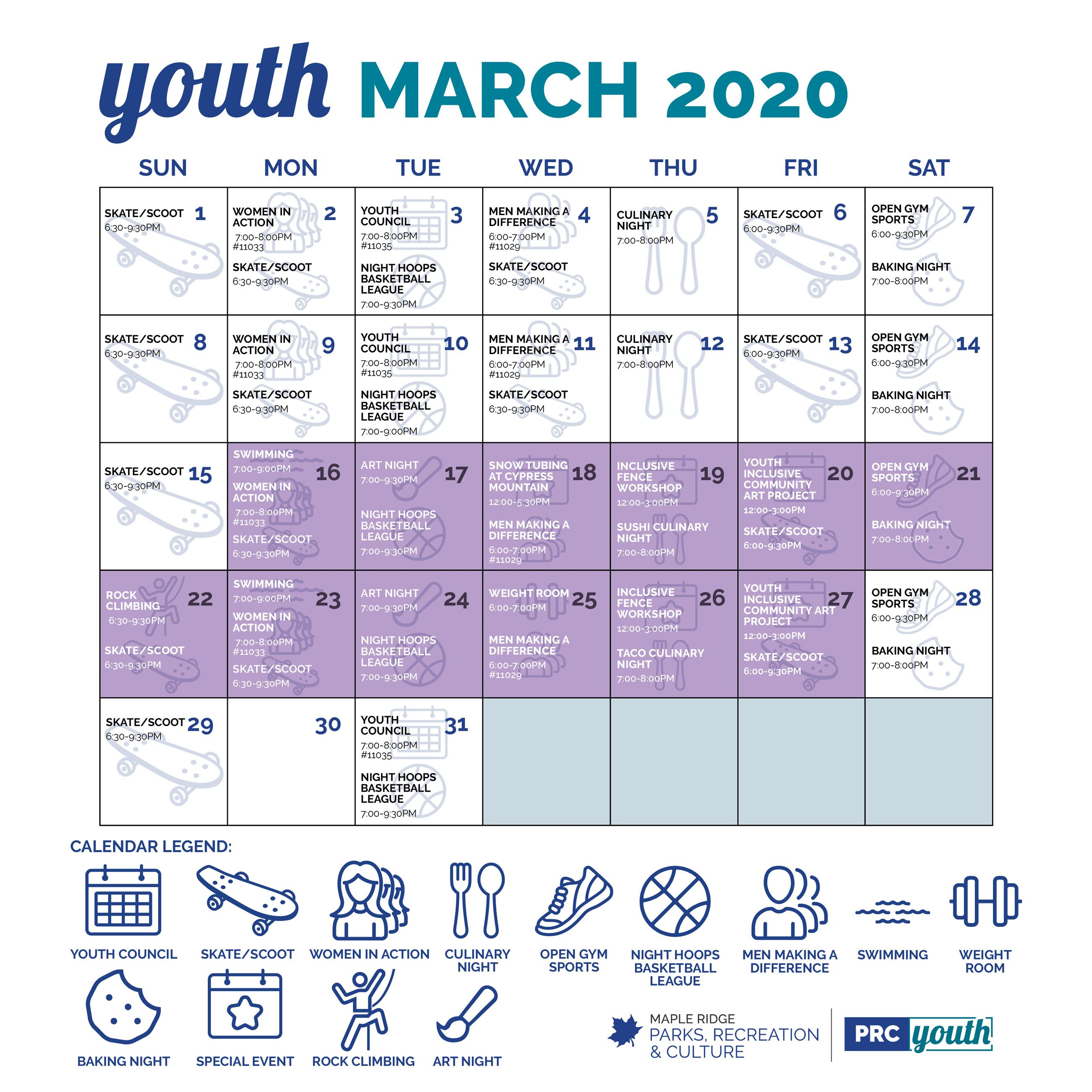 Youth Monthly Program Calendar