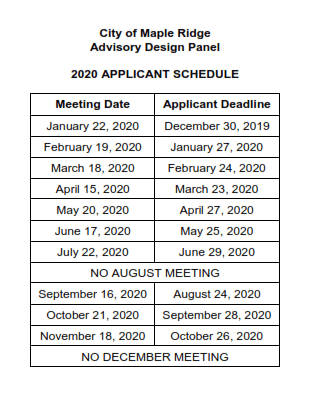 2020 ADP Submission Schedule