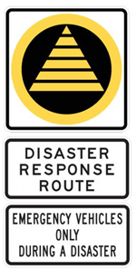 Disaster Response Route Signs