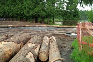 Log edges of new play area placed