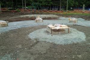 Preparation of footings for new gazebo relocation